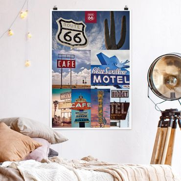 Poster - Route 66 - Collage Blue Motel - Verticale 3:2