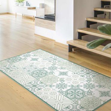 Tappeti in vinile - Trama di piastrelle floreali con piccole parti in tonalità verdi - Verticale 1:2