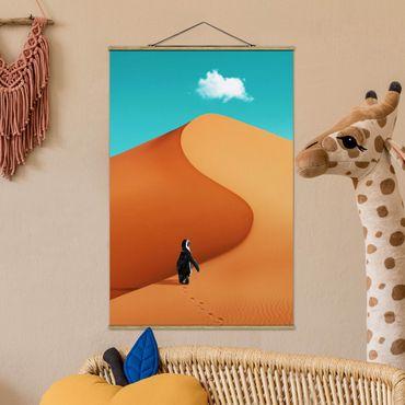 Foto su tessuto da parete con bastone - Deserto Con Penguin - Verticale 3:2