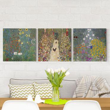 Stampa su tela 3 parti - Gustav Klimt - I giardini - Quadrato 1:1