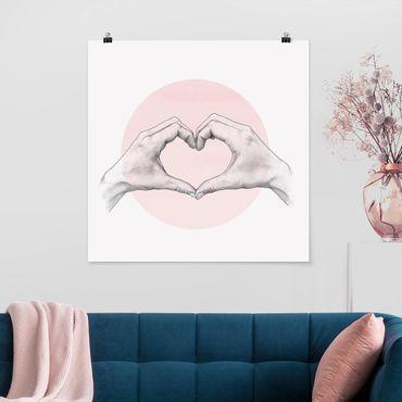 Poster - Illustrazione Cuore cerchio mani Rosa Bianco - Quadrato 1:1