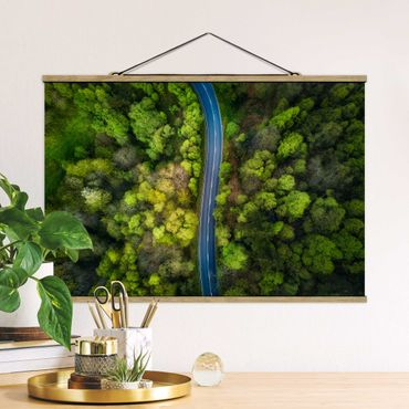 Foto su tessuto da parete con bastone - Veduta aerea - Strada asfaltata In The Forest - Orizzontale 2:3
