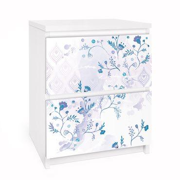 Carta adesiva per mobili IKEA - Malm Cassettiera 2xCassetti - Blue Fantasy Pattern