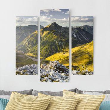 Stampa su tela 3 parti - Mountains And Valley Of The Lechtal Alps In Tirol - Trittico da galleria