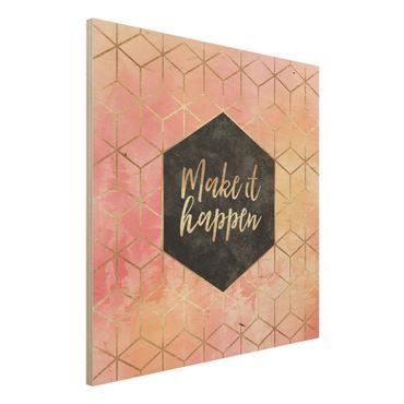 Stampa su legno - Make It Happen Geometria pastello - Quadrato 1:1