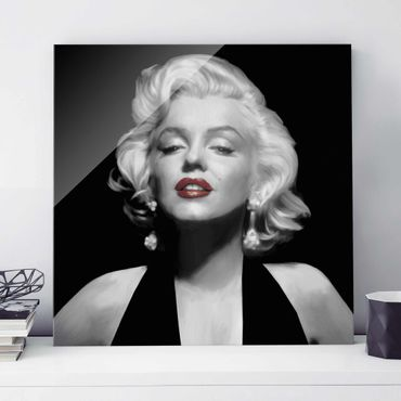 Quadro in vetro - Marilyn With Red Lips - Quadrato 1:1