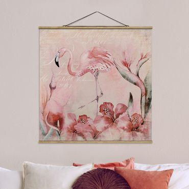 Foto su tessuto da parete con bastone - Shabby Chic Collage - Flamingo - Quadrato 1:1