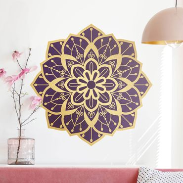Adesivo murale - Mandala Fiore modello oro viola