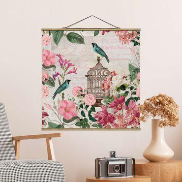 Foto su tessuto da parete con bastone - Shabby Chic Collage - Fiori rosa e Bluebirds - Quadrato 1:1