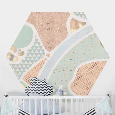 Carta da parati esagonale adesiva con disegni - Laghi astratti in pastello