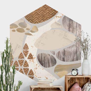 Fotomurale esagonale autoadesivo - Muro di pietra astratto in pastello