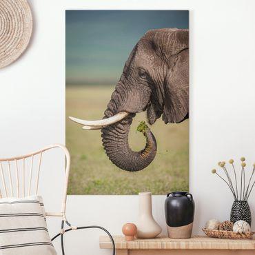 Stampa su tela - Elefanti alimentazione a Africa - Verticale 2:3