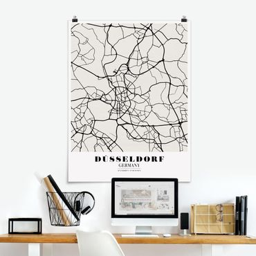 Poster - Mappa Dusseldorf - Classic - Verticale 4:3