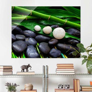 Quadro in vetro - Verde bambù con Pietre Zen - Orizzontale 3:4