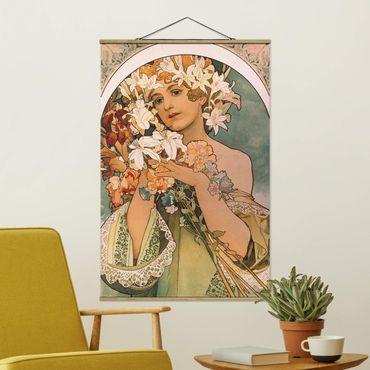 Foto su tessuto da parete con bastone - Alfons Mucha - Fiore - Verticale 3:2