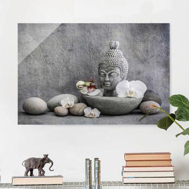 Quadro in vetro - Zen Buddha, orchidee e pietre - Orizzontale 2:3
