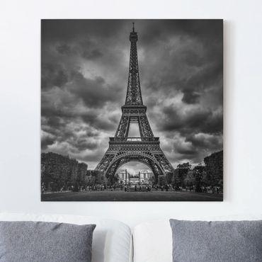 Stampa su tela - Torre Eiffel Davanti Nubi In Bianco e nero - Quadrato 1:1