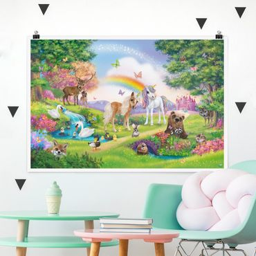 Poster - Enchanted Forest Con Unicorn - Orizzontale 2:3