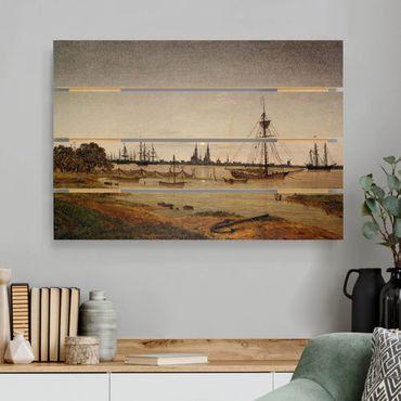 Stampa su legno - Caspar David Friedrich - Harbor al chiaro di luna - Orizzontale 2:3