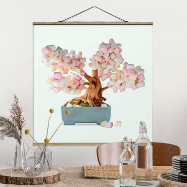 Foto su tessuto da parete con bastone - Bonsai con marshmallow - Quadrato 1:1
