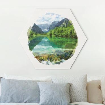 Esagono in Alu-dibond - Acquarelli - Mountain Lake Con Mirroring