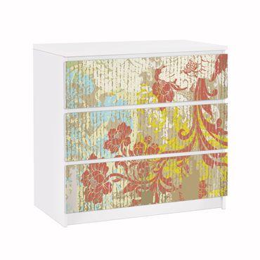 Carta adesiva per mobili IKEA - Malm Cassettiera 3xCassetti - Flowers yesteryear