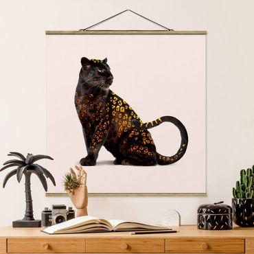 Foto su tessuto da parete con bastone - Panthers d'oro - Quadrato 1:1