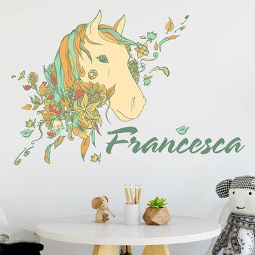 Adesivo murale Cavallo con fiori con testo personalizzato