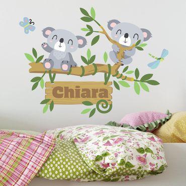 Adesivo murale Koala e albero con testo personalizzato