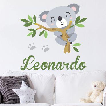 Adesivo murale Koala e ramo con testo personalizzato