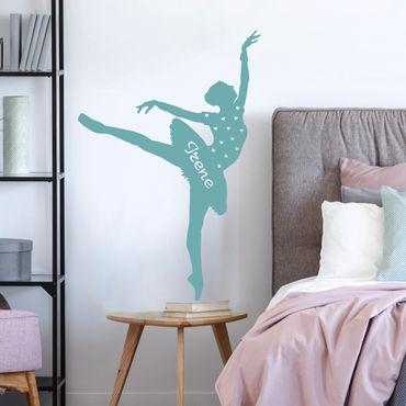 Adesivo murale No.RS105 Ballerina con nome personalizzato