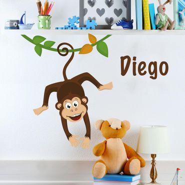 Adesivo murale No.YK30 Scimmietta per camerette con nome personalizzato