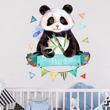Adesivo murale Orsetto panda in acquerello con testo personalizzato