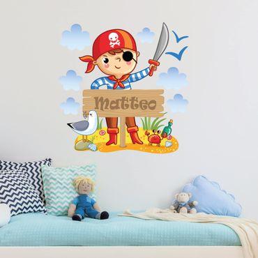 Adesivo murale Pirata con testo personalizzato