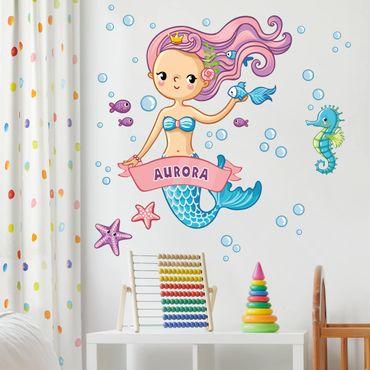 Adesivo murale Sirena con testo personalizzato