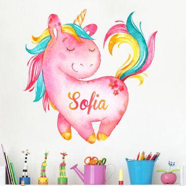 Adesivo murale Unicorno rosa con testo personalizzato