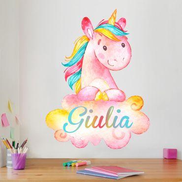 Adesivo murale Unicorno sulla nuvola con testo personalizzato