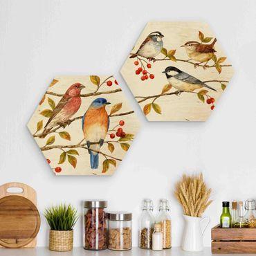 Esagono in legno - Uccelli e Bacche Set I