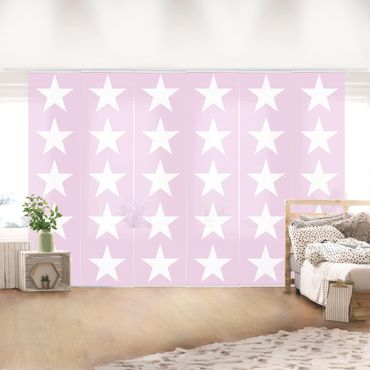 Tende scorrevoli set - Great White Stars On Pink