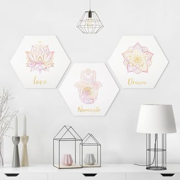 Esagono in Alu-dibond - Mandala Namaste Lotus Set oro rosa