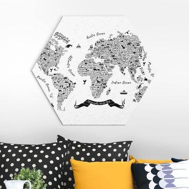Esagono in Alu-dibond - Tipografia Bianco mappa del mondo