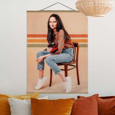 Foto su tessuto da parete con bastone - Retro Mona Lisa - Verticale 4:3