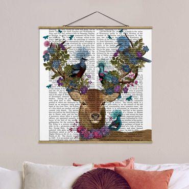 Foto su tessuto da parete con bastone - Fowler - cervo con Piccioni - Quadrato 1:1