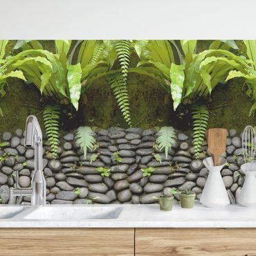 Rivestimento cucina - Parete in pietra con foglie