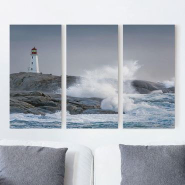 Stampa su tela 3 parti - Storm Waves At The Lighthouse - Verticale 2:1