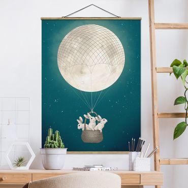 Foto su tessuto da parete con bastone - Laura Graves - Illustrazione Hare Balloon Luna cielo stellato - Verticale 4:3