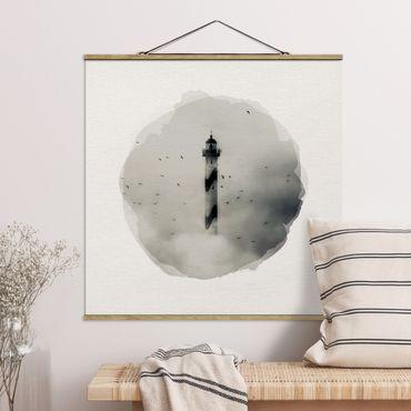 Foto su tessuto da parete con bastone - Acquarelli - Faro nella nebbia - Quadrato 1:1