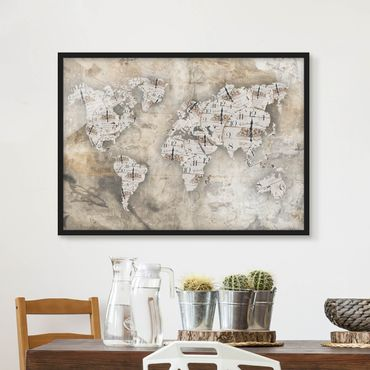 Poster con cornice - Shabby Watches World Map - Orizzontale 3:4
