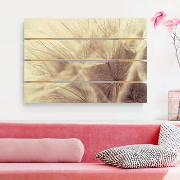 Stampa su legno - Dettagliata Dandelion Macro Shot con sfocatura effetto vintage - Orizzontale 2:3