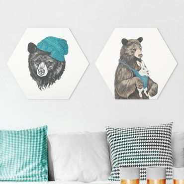 Esagono in Alu-dibond - Laura Graves - le coppie dell'orso